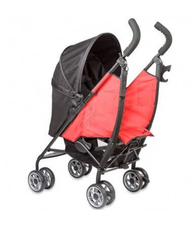 Детская  прогулочная коляска 3D Flip, чёрный/красный
