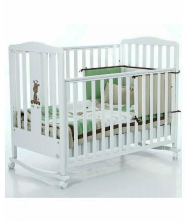 Кровать Bambolina Raffy 120х60 см белый + набор белья Holiday