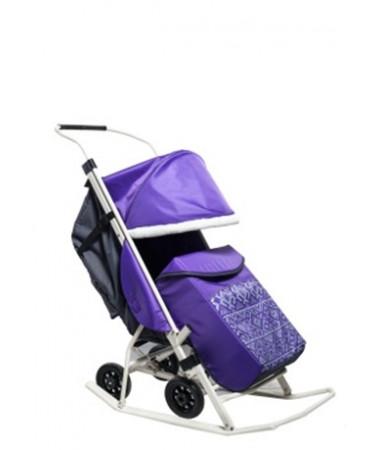 Санки-коляска с выдвижными колесами Kristy Мое детство норвежский орнамент с муфтой