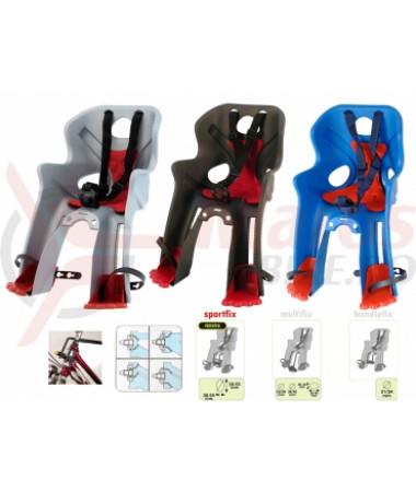 Детские велокресла HTP Kiki DeLuxe/Frame/Grey Dark (на рулевую трубу спереди, до 15 кг, 1-3 лет)